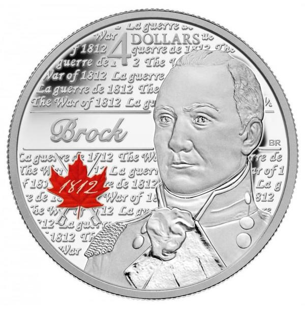 2012 Fine Silver 4 Dollar Coin - Heroes of 1812, Sir Isaac Brock