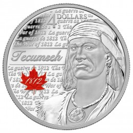 2012 Canada Fine Silver 4 Dollar Coin - Heroes of 1812, Tecumseh