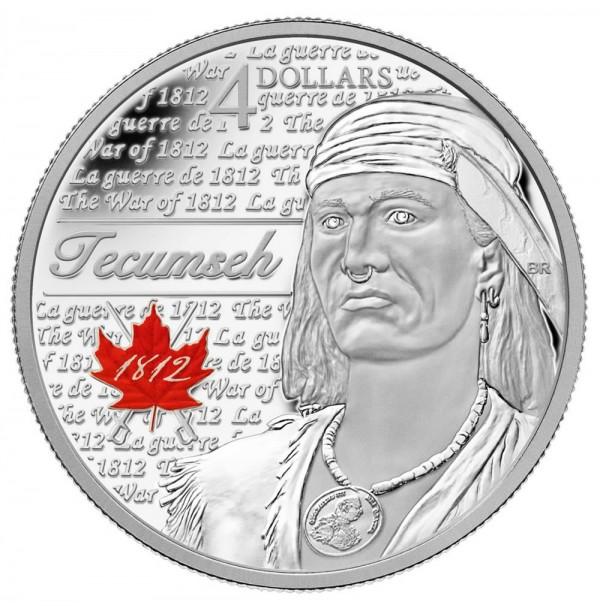2012 Fine Silver 4 Dollar Coin - Heroes of 1812, Tecumseh