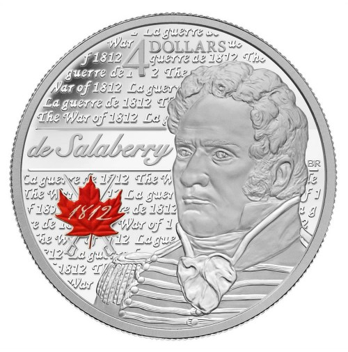 2013 Fine Silver 4 Dollar Coin - Heroes of 1812, Charles-Michel De Salaberry