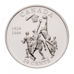 1999 Canada Sterling Silver 50 Cent Coin - Canadian Sports Firsts: Invention of Basketball