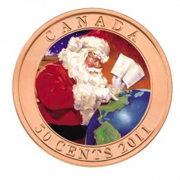 2011 Canada 50 Cent Coloured Coin - Gifts from Santa