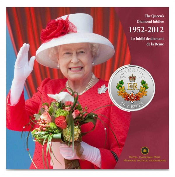 2012 Silver-Plated 50 Cent Coin - The Queen's Diamond Jubilee Emblem