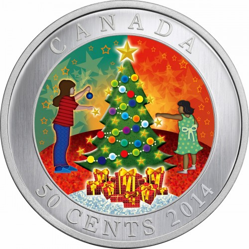 Christmas Tree For 2014: 2014 Canadian 50-Cent Christmas Tree Holiday Lenticular Coin