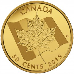 2015 Canadian 50-Cent Maple Leaf - 1/25 oz Pure Gold Coin
