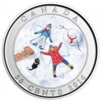 2016 50 Cent Coin - Lenticular Coin: Snow Angels
