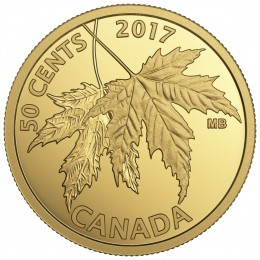 2017 Canadian 50-Cent The Silver Maple Leaf - 1/25 oz Pure Gold Coin
