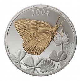 2004 Canada Sterling Silver 50 Cent Coin - Clouded Sulphur Butterfly