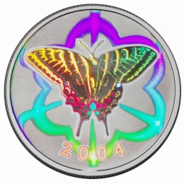 2004 Canada Sterling Silver 50 Cent Coin - Tiger Swallowtail Butterfly