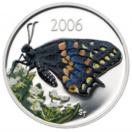 2006 Canada Sterling Silver 50 Cent Coin - Short-Tailed Swallowtail Butterfly