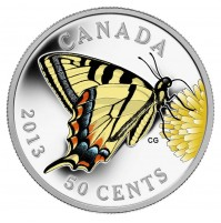 2013 Silver Plated 50 Cent Coin - Canadian Tiger Swallowtail