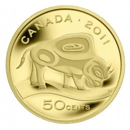 2011 Canada 1/25 oz Pure Gold 50 Cent Coin - Wood Bison
