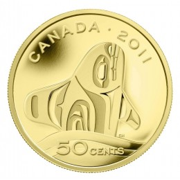 2011 Canada 1/25 oz Pure Gold 50 Cent Coin - Orca Whale