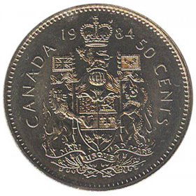 1984 Canadian 50-Cent Coat of Arms Half Dollar Coin (Circulated)