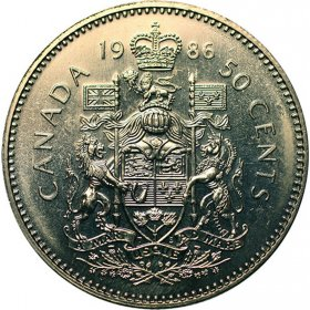1986 Canadian 50-Cent Coat of Arms (Brilliant Uncirculated)