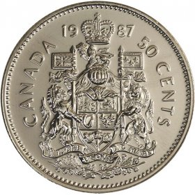 1987 Canadian 50-Cent Coat of Arms (Brilliant Uncirculated)