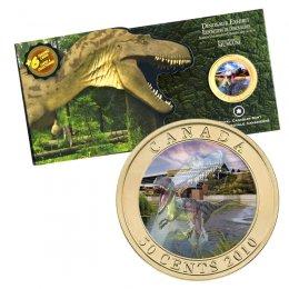 2010 Canadian 50-Cent Dinosaur Exhibit: Albertosaurus 3D Lenticular Coloured Coin + 6 Trading Cards
