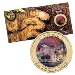 2010 Canadian 50-Cent Dinosaur Exhibit: Daspletosaurus Torosus 3D Lenticular Coloured Coin + 6 Trading Cards