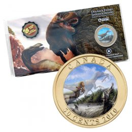 2010 Canadian 50-Cent Dinosaur Exhibit: Sinosauropteryx 3D Lenticular Coloured Coin + 6 Trading Cards