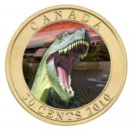 2010 Canada 50 Cent Coin - Lenticular Dinosaur Albertosaurus