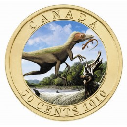 2010 Canada 50 Cent Coin -  Lenticular Dinosaur Sinosauropteryx