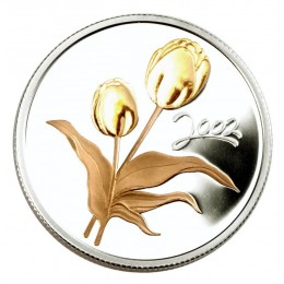2002 Canadian 50-Cent Golden Tulip Sterling Silver Gold-plated Coin