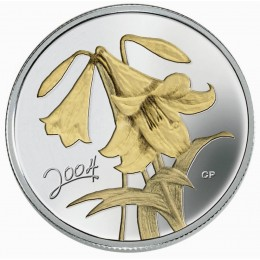 2004 Canadian 50-Cent Golden Easter Lily Sterling Silver Gold-plated Coin