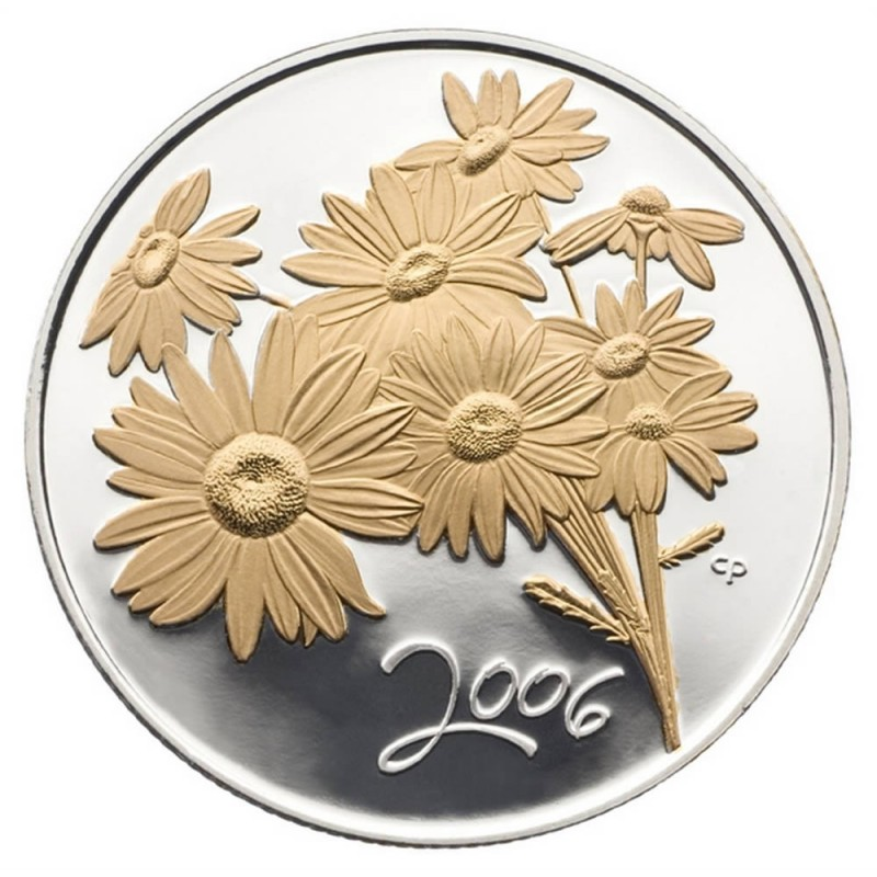 2006 Canadian 50 Cent Golden Daisy Sterling Silver Gold