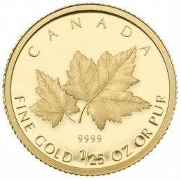 2009 Canada 1/25 oz Pure Gold 50 Cent Coin - Red Maple