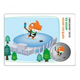 2010 Canada Olympic Mascot 50 Cent Coin Collector Card - Miga Ice Hockey