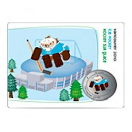 2010 Canada Olympic Mascot 50 Cent Coin Collector Card - Quatchi Ice Hockey
