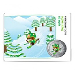 2010 Canada Olympic Mascot 50 Cent Coin Collector Card - Paralympic Alpine Skiing