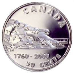 2000 Sterling Silver 50 Cent Coin - Introduction of Curling to North America