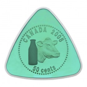 2008 Sterling Silver Triangle 50 Cent Coin - Milk Delivery