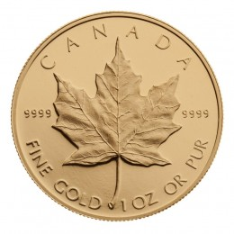 1989 Canadian $50 Maple Leaf 1 oz Fine Gold Coin - 10th Anniversary
