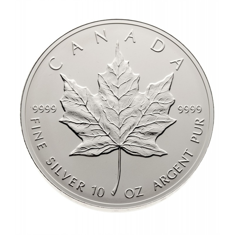 1998 Canadian 50 Silver Maple Leaf 10th Anniv 10 Oz Fine Silver Coin Amp Sterling Certificate