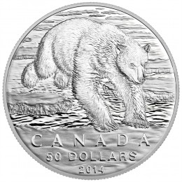 2014 Canadian $50 for $50 Iconic Polar Bear Fine Silver Coin