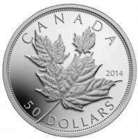 2014 Fine Silver 50 Dollar Coin - Maple Leaves