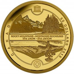 2015 Canadian $50 UNESCO at Home and Abroad - Mount Fuji & The Canadian Rockies - 1/4 oz Pure Gold Coin