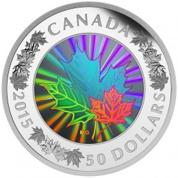 2015 Canadian $50 Lustrous Maple Leaves - 5 oz Fine Silver Hologram Coin