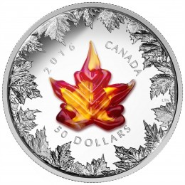 2016 Canadian $50 Murano Maple Leaf: Autumn Radiance - 5 oz Fine Silver Coin