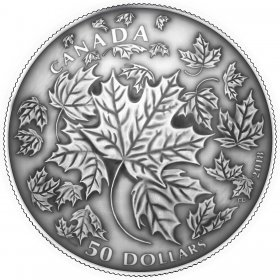 2018 Canadian $50 Maple Leaves in Motion - 5 oz Fine Silver Convex Coin