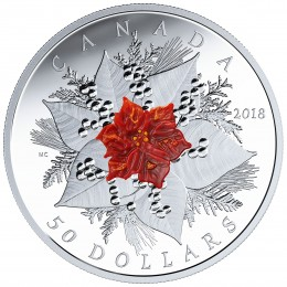 2018 Canadian $50 Holiday Splendour: Poinsettia (Murano Glass) - 5 oz Fine Silver Coin