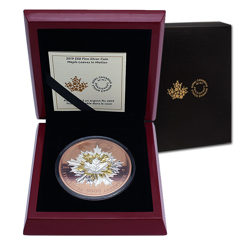2019 Canadian 50 Maple Leaves In Motion 5 Oz Reverse Rose