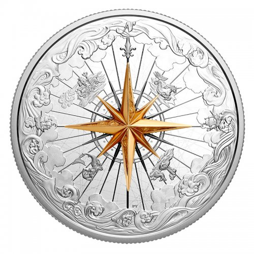 2019 Canadian $50 Rose of the Winds 5 oz Fine Silver & 3D Compass Coin