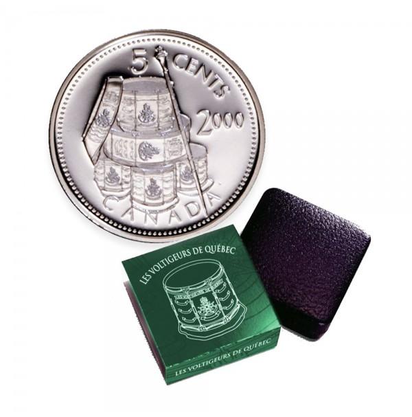 2000 Canada Les Voltigeurs de Quebec 5 Cent Silver Coin - First French-Canadian Regiment
