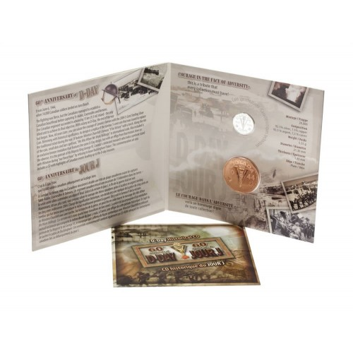 2004 (1944-) Canadian 5-Cent D-Day Landing 60th Anniv Sterling Silver Coin & Medallion Gift Set