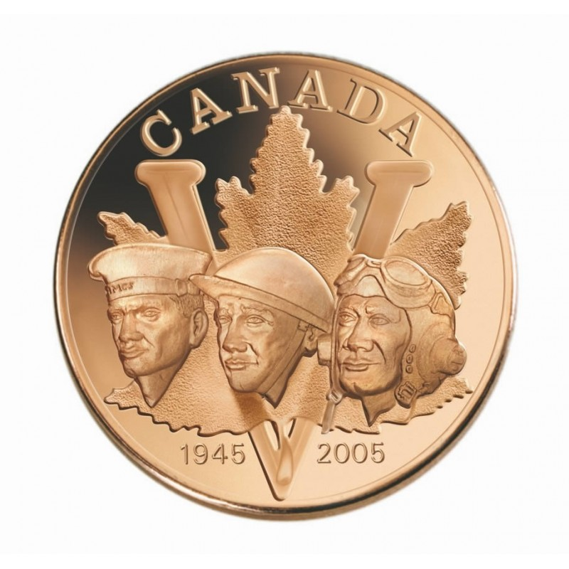 2005 1945 Canadian 5 Cent Victory In Europe Ve Day 60th Anniv Proof Silver Coin Amp Medallion