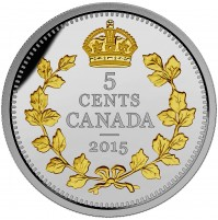 2015 Fine Silver 5 Cent Coin - Legacy of the Canadian Nickel: The Crossed Maple Boughs