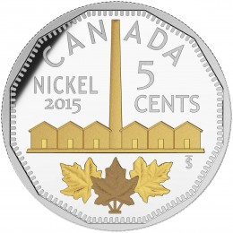 2015 Canadian 5-Cent Legacy of the Canadian Nickel: The Identification of Nickel - 1 oz Fine Silver & Gold-plated Coin